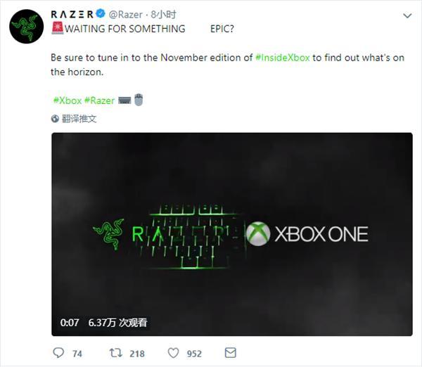 微软和雷蛇将为Xbox One带来键盘和鼠标支持