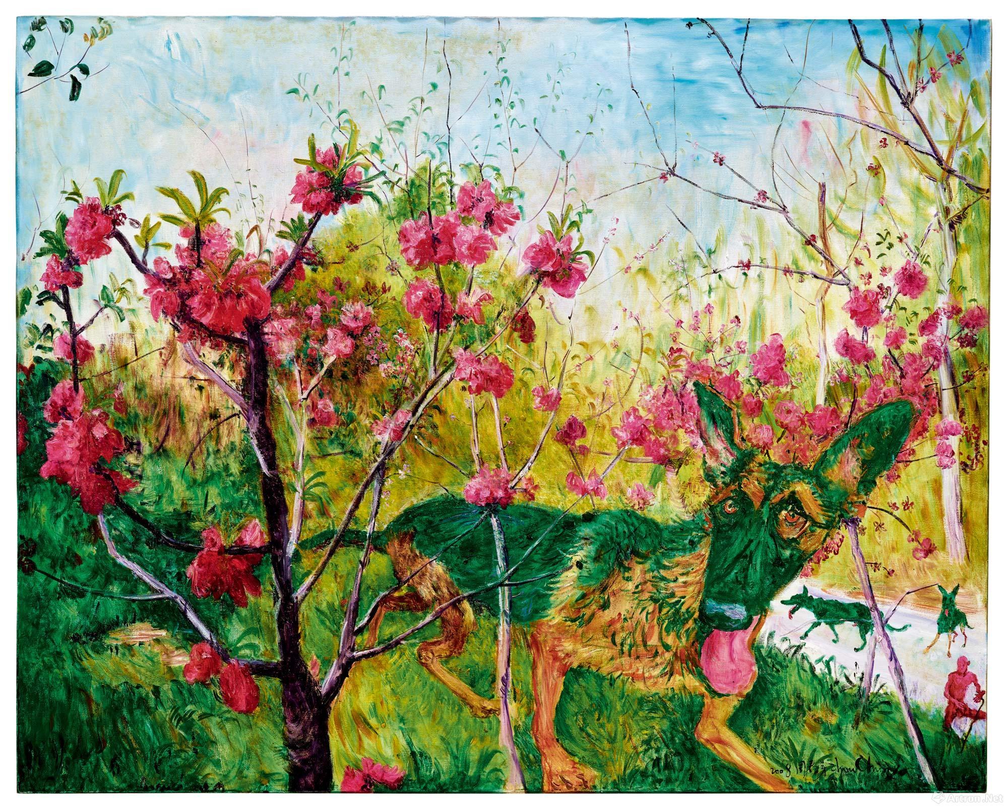 飞翔的天使1998 年作油彩 画布 40 x 40 cm.   HK$ 4,000,000 - 6,000,000   近来为市场所青睐的艺术家周春芽,此次也有一件集合桃花与绿狗的经典作品推出,2008年作《桃花与绿狗》。周春芽将绿狗雕塑化的同时在笔触结构上又吸收了花鸟画形态简洁的特征,突破了以往模拟国画笔墨表象符号的程序,融入了表现主义的率直挥洒。