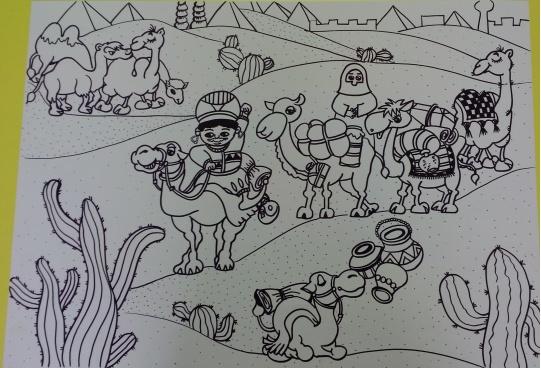 少儿创意美术《沙漠之行》,详细教学步骤分享