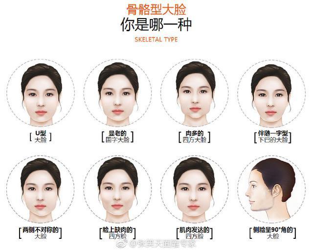 面部整体呈细长,整体轮廓丰盈呈椭圆形,三庭比例大致相等.