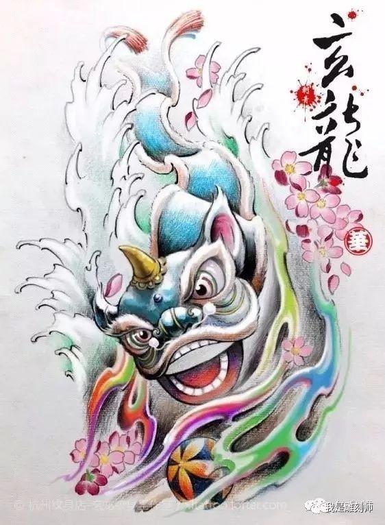 我是雕刻师,唐狮纹身素描雕刻手稿图谱,盘古臻艺