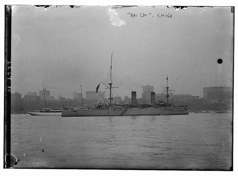 """珍贵老照片:1911年中国海军""""海圻""""号巡洋舰访问纽约"""