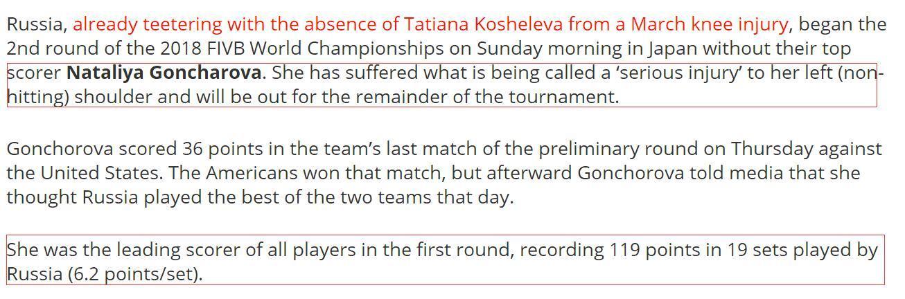 利好!女排世界赛得分王重伤 俄罗斯失核心郎平冲六强更有戏