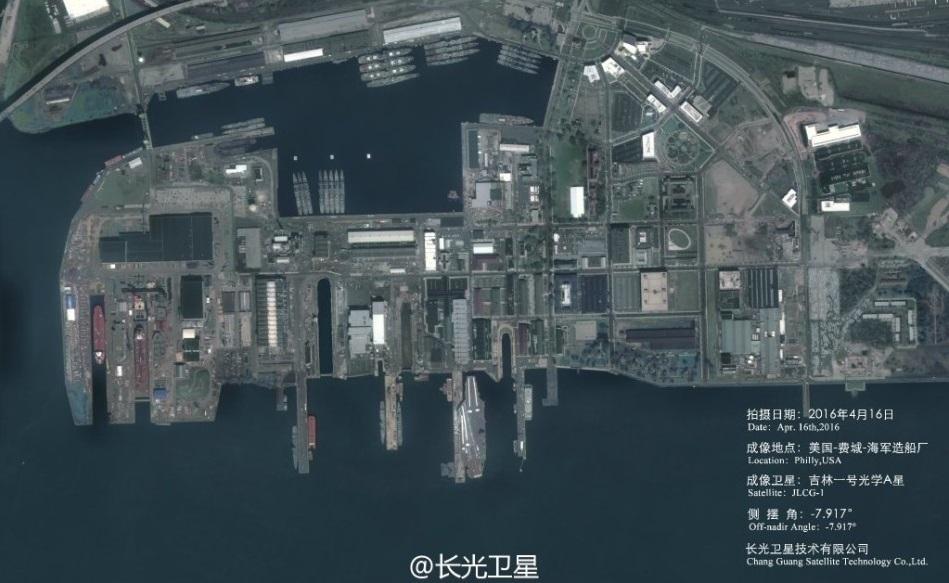 中国卫星公司城会玩:拍美军航母靠港 中国火箭发射