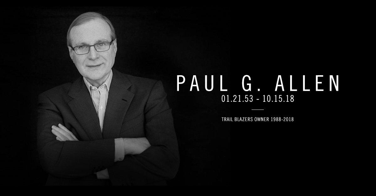 开拓者老板保罗-阿伦因癌症去世,享年65岁