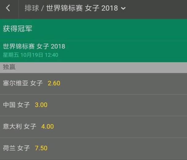 中意女排大战赔率出炉!中国队被看好与塞尔维亚会师决赛