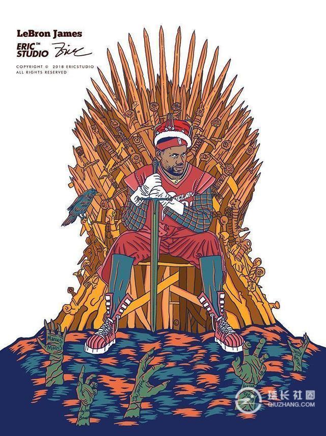 NBA王冠漫画集锦:詹姆斯手握少女,杜兰特罪恶死神漫画球星权杖a王冠图片