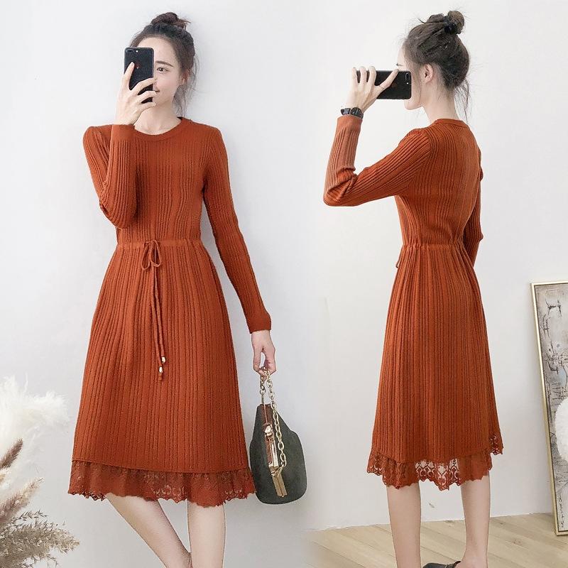 韩版修身针织连衣裙2018秋冬新款毛衣宽松的裙摆能够表现出一种慵懒随