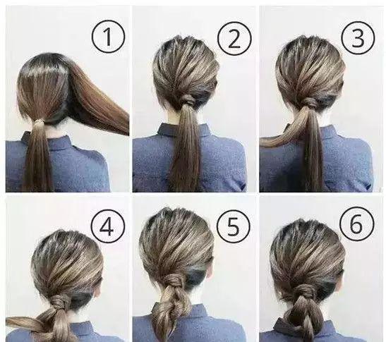 盘发步骤图解: 1、首先将头发分成两份,一边多,一边少,多的一边扎成马尾。 2、然后将另一边缠绕在马尾扎发处。 3、再将马尾分成两份,开始交叉打结。 4、打过结之后再扎成一束,然后发尾向上卷,固定在马尾下面,就完成了。