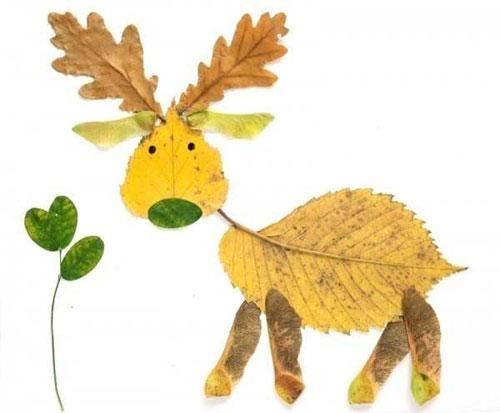 22款树叶创意动物画,幼儿园手工作业必备,收藏起来吧!图片