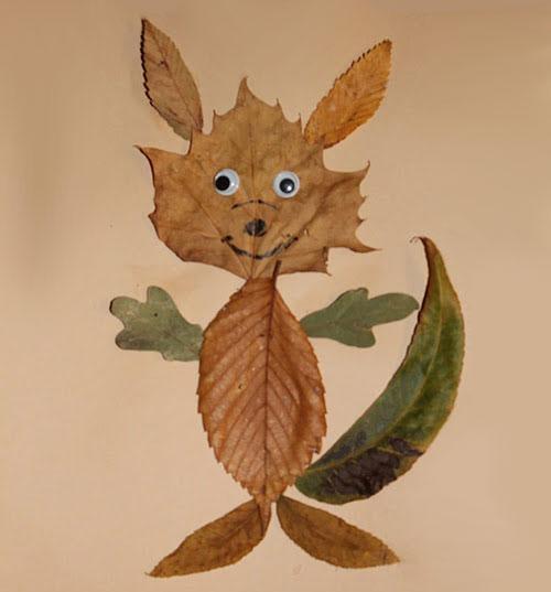 22款树叶创意动物画,幼儿园手工作业必备,收藏起来吧!