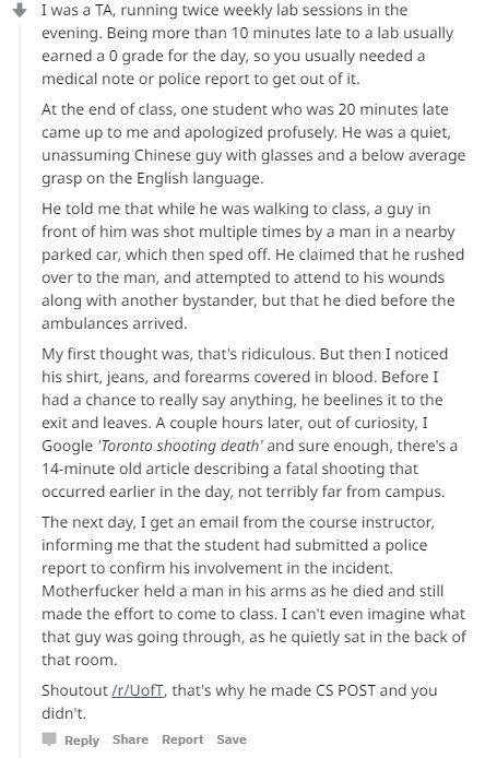 中国留学生为迟到道歉 加拿大老师知道原因后呆坐半天