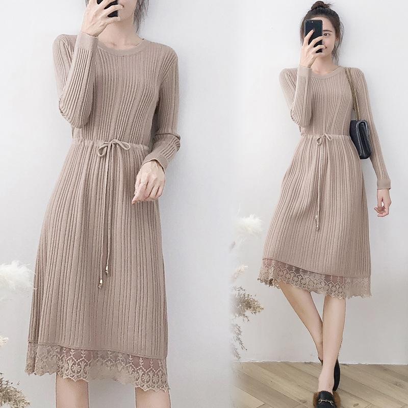 韩版修身针织连衣裙2018秋冬新款毛衣满满的随意感,圆领的设计,让你更