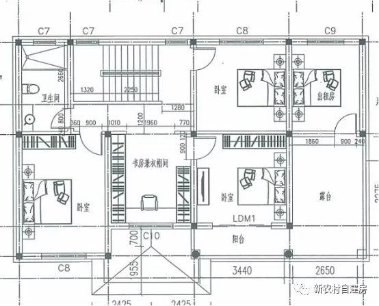 二层设计书房,3间卧室,出租房,卫生间,露台,阳台.