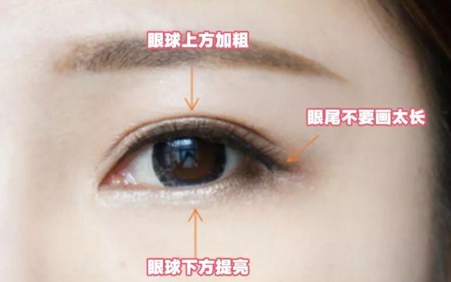 圆眼 圆眼仙女适合下垂眼线,又叫狗狗眼线,自带软萌无辜的特效,营造一种楚楚动人的可爱少女感。画法的关键在于眼角向下耷拉。 Step 1:先用眼线笔沿着睫毛根部画一条流畅的眼线; Step 2 :然后用细头的眼线笔将眼尾部分的眼线往后稍稍延长; Step 3 :眼尾部分的眼线逐渐加粗一点,但是不能过于粗。 眼距过宽 眼距过宽就要尽可能的缩短双眼间距,开眼角眼线有这种效果。 Step 1:先贴着眼皮画一条自然的外眼线; Step 2:用手指提一下眼头部位,松弛一下眼角,用眼线笔贴着内眼皮填满。