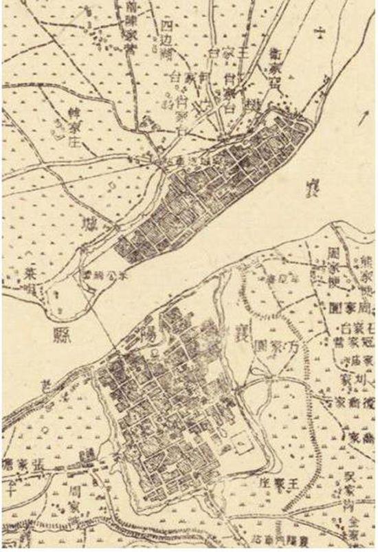 ▲民国时期的地形图,上为樊城,下为襄阳