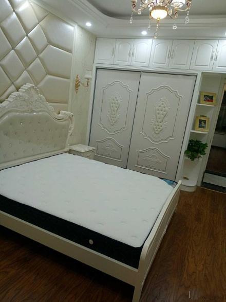 欧式风格的卧室,主卧的奶白色床头软包背景墙看起来很美观上档次.