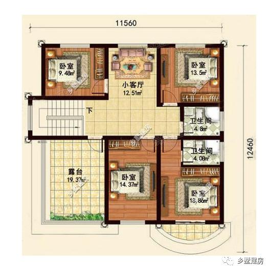 三层平面设计图:对于我个人而言是很喜欢这房子的半圆形大飘窗设计