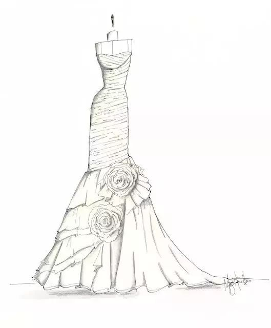 1, 300张服装设计手稿马克笔水彩服装插画手绘临摹素材图   2,手绘