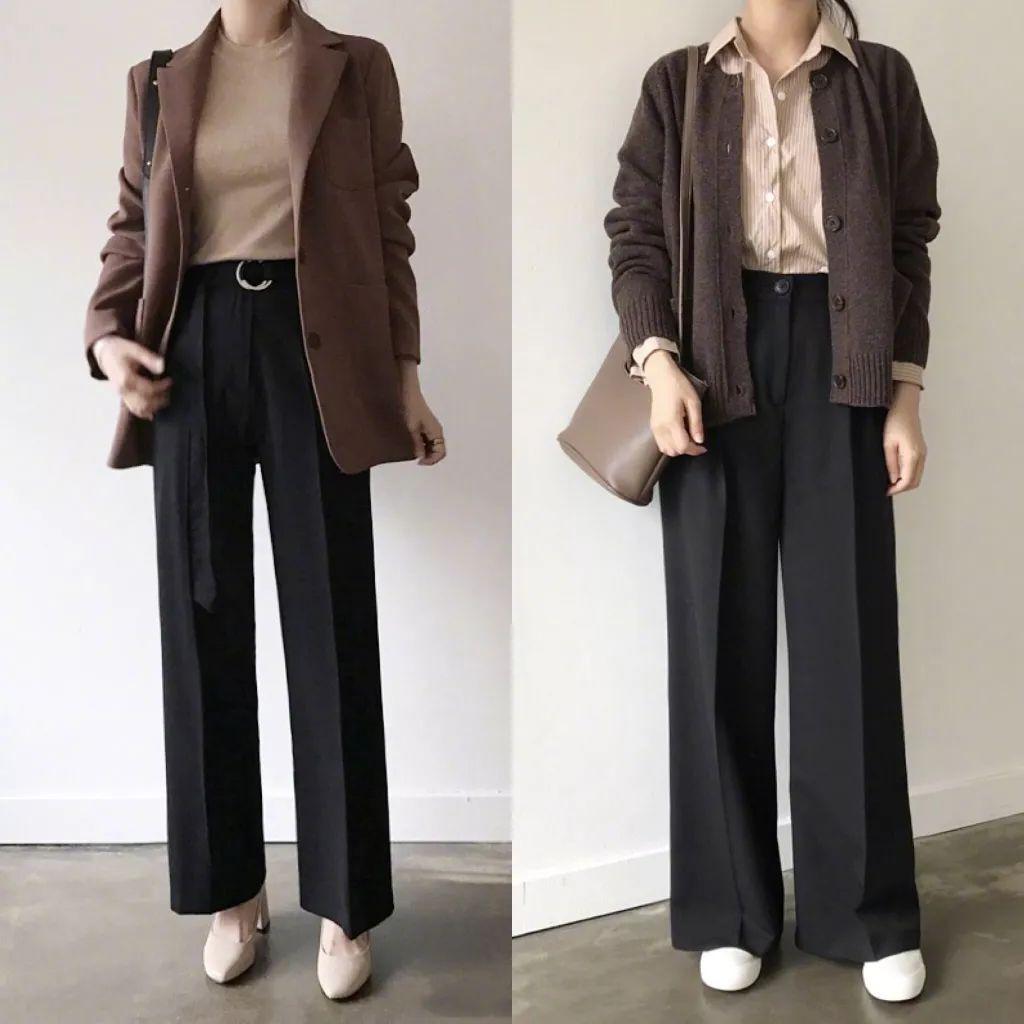 下装半裙和阔腿裤是重点,搭配针织衫西装风衣,实在强.