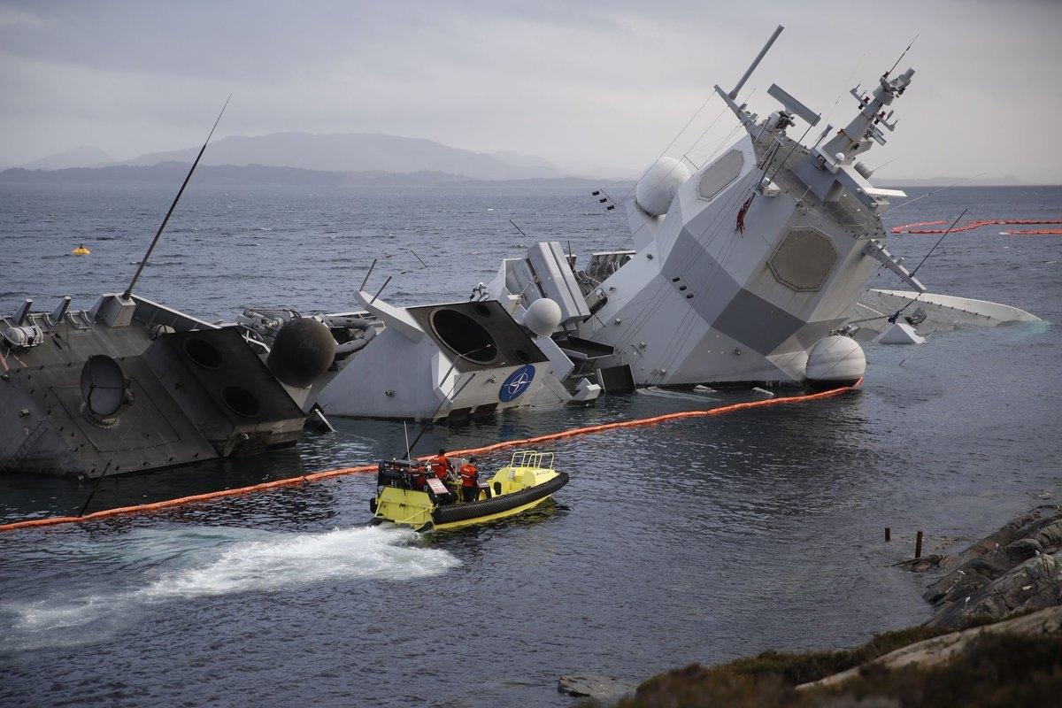 挪威最强战舰几乎全部沉没 救援打捞还没开始