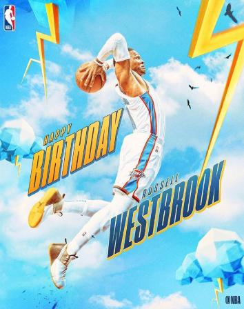 NBA官方祝威斯布鲁克30岁生日快乐