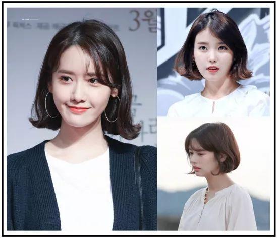 一般韩式短发中最常见的就是发尾外翻or内翻,搭配八字刘海,甜美乖巧的图片