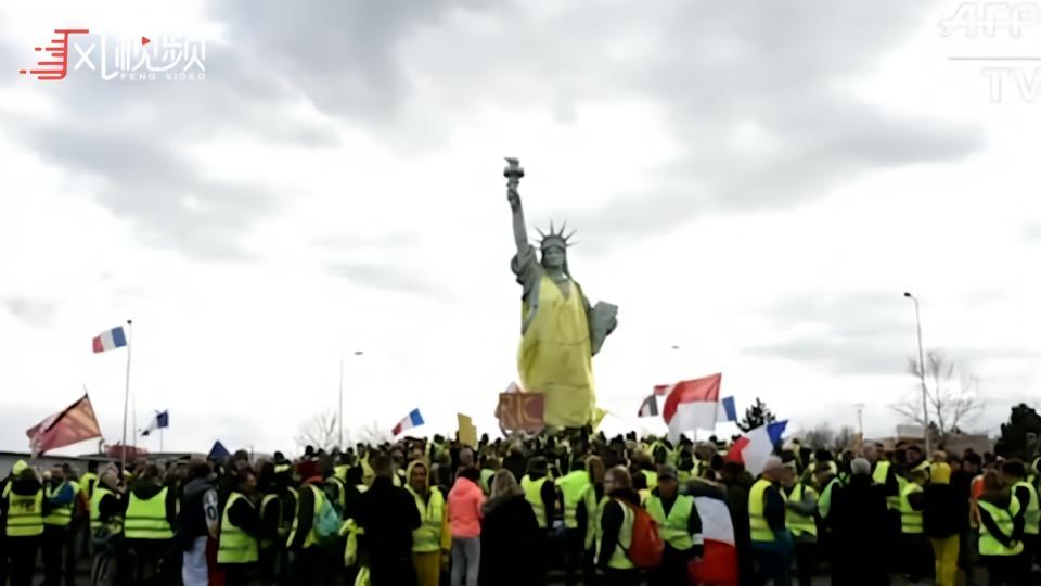 """""""自由女神""""身披黄马甲现身法国  第16轮示威开始"""