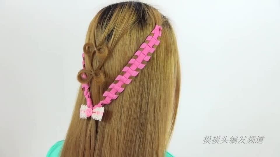 发型教程:头型蝴蝶结淑女编发倒v彩带是什么图片