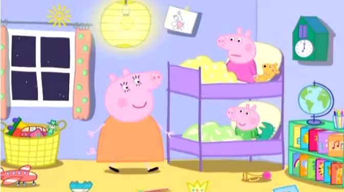 《小猪佩奇》猪爸爸装小动物哄乔治佩奇睡觉