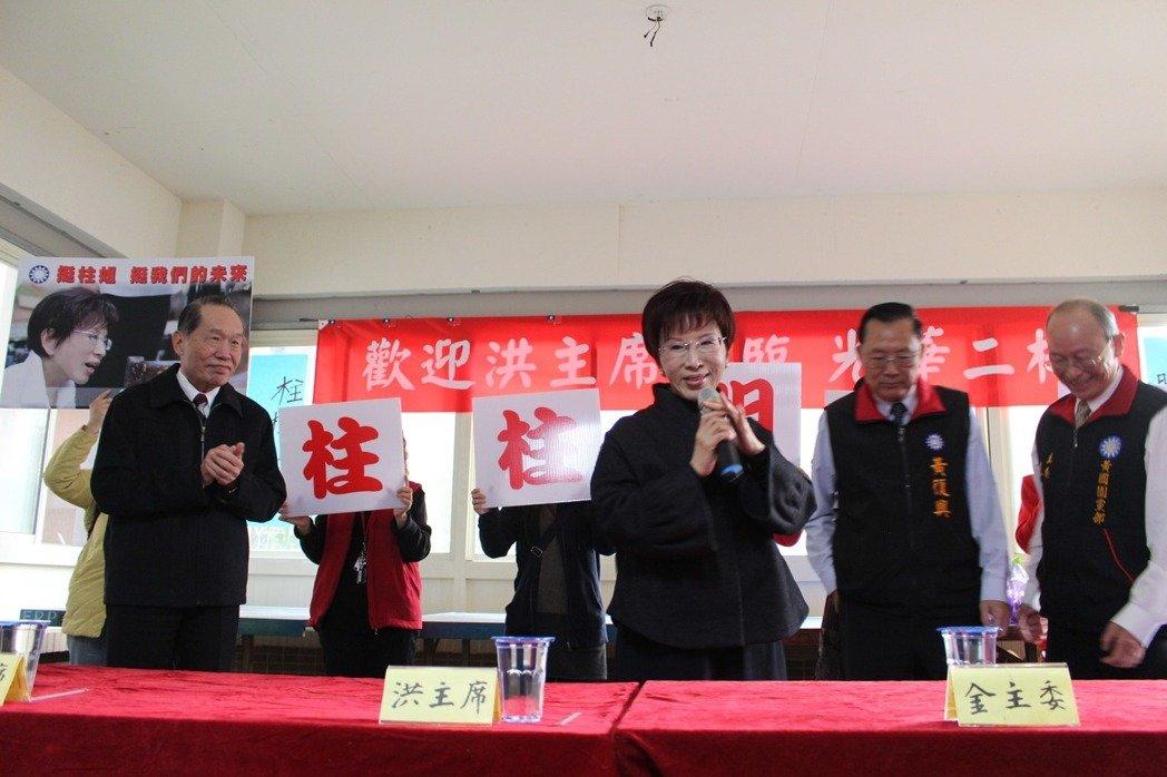 国民党主席洪秀柱3日到桃园与社区民众见面。(图片来源:台湾《联合报》)