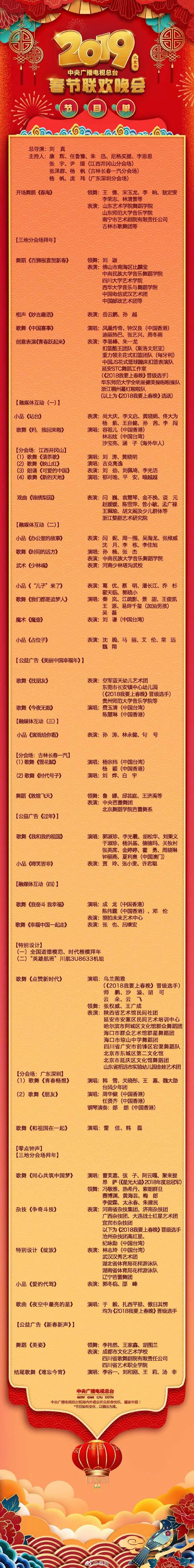 央视春晚节目单公布