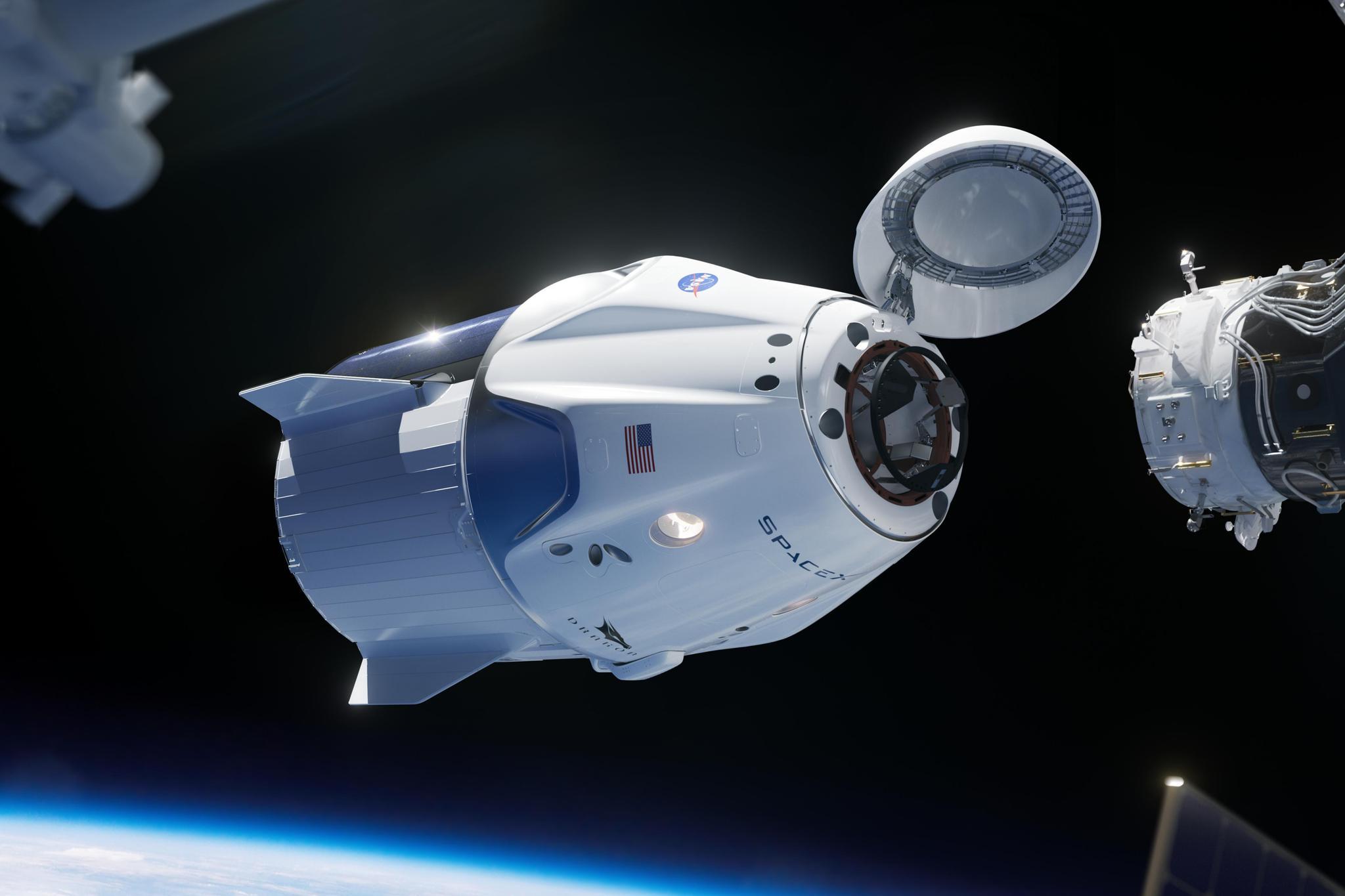 """""""龙2""""与国际空间站对接,图自SpaceX推特"""