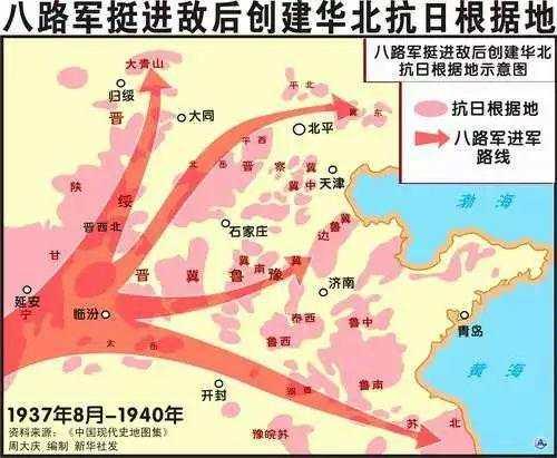 (图为八路军挺进敌后创建华北抗日根据地图源:新华社)