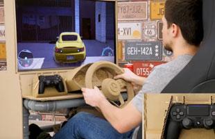 无所不能的技术宅 用纸板PVC管打造赛车游戏方向盘
