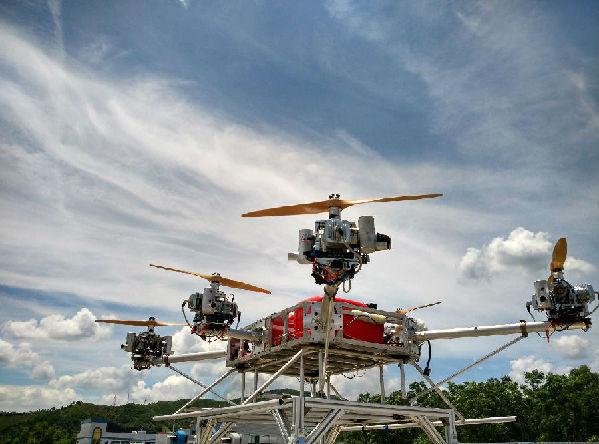 """""""天馬""""最大起飛重量為150kg,有效載重70kg,電動無人機一般為10-20公斤圖片"""