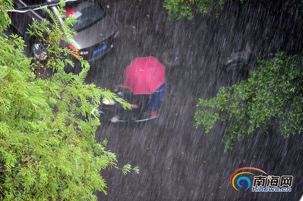 7月26日下午2時,受今年第3號臺風影響,三亞迎來強降雨。南海網記者沙曉峰攝 南海網、南海網客戶端7月26日消息(南海網記者沙曉峰)7月26日上午11時,今年第3號臺風在南海中北部生成。預計3號臺風將于26日夜間至27日凌晨登陸海南東部地區,將給海南、廣東、廣西、云南帶來大到暴雨,相關海域最大風力可達10級。 三亞市氣象臺2016年07月26日10時38分變更臺風藍色預警信號為臺風黃色預警信號:三亞市24小時內將受影響,沿海或者陸地平均風力達8級以上,陣風10級以上并可能持續。請有關單位和人員做好防范工
