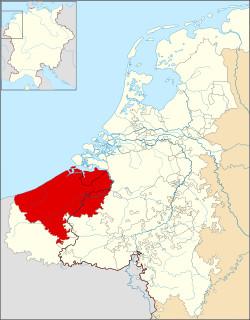 1350年佛兰德斯伯国疆域