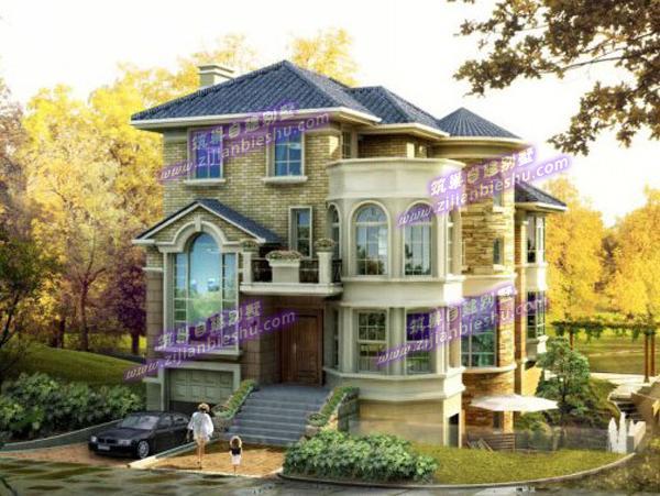 9x14独栋三层美式别墅带半地下室及车库设计图(附建成
