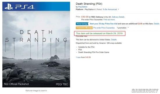 亚马逊再出临时工:《死亡搁浅》被曝2019年3月29日发售