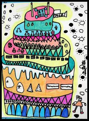 少儿创意美术课题《生日蛋糕》,祝你生日快乐,吃蛋糕